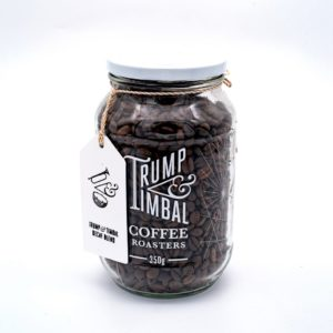 Trump & Timbal Ethically Sourced <strong>BEANS</strong> | ESPRESSO Coffee Blend | EASY DRINKING |  GLASS JAR <strong> 350 g </strong>